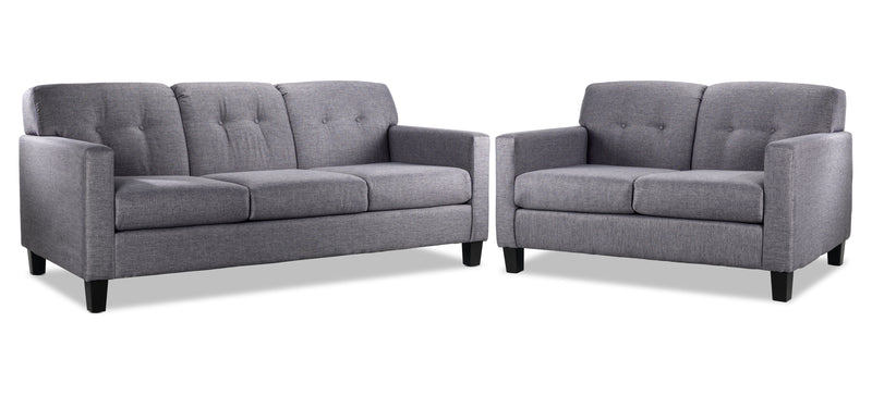 Merlin Sofa and Loveseat Set - Grey