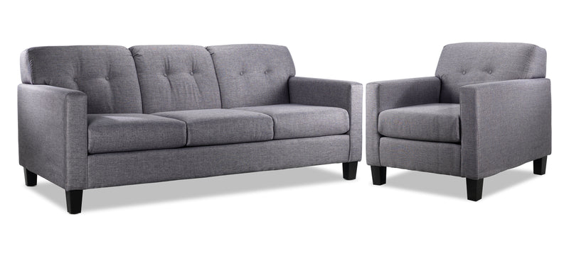 Merlin Sofa and Chair Set - Grey