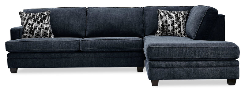 Anatasia 2-Piece Sectional with Right-Facing Chaise - Navy