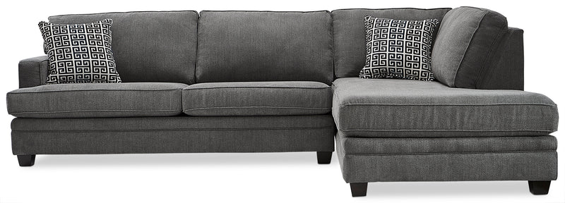 Anatasia 2-Piece Sectional with Right-Facing Chaise - Charcoal