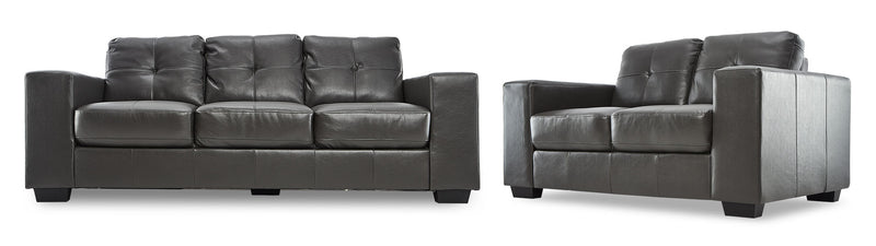 Meldrid Sofa and Loveseat Set - Dark Grey