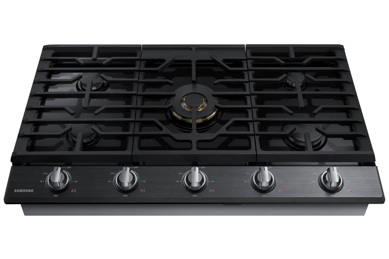 "Samsung Black Stainless Steel 36"" Gas Cooktop - NA36N7755TG/AA"