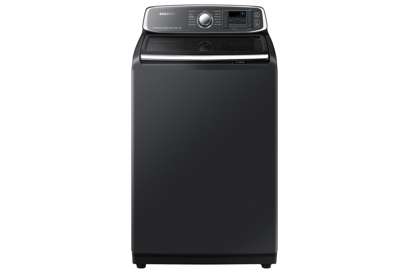 Samsung Black Stainless Steel Steam Top Load Washer (6 Cu. Ft.) - WA52T7650AV/A4