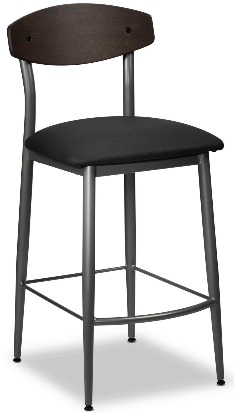 Hanks Non-Swivel Counter-Height Bar Stool - Black & Walnut
