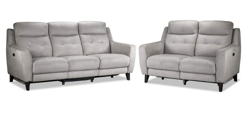Lucas Power Reclining Sofa and Loveseat Set - Silver Grey