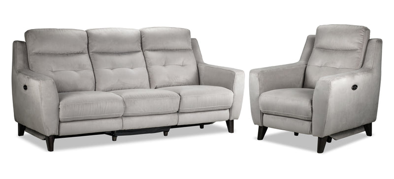 Lucas Power Reclining Sofa and Chair Set - Silver Grey