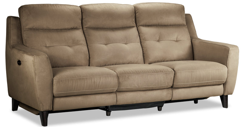 Lucas Power Reclining Sofa and Chair Set - Taupe