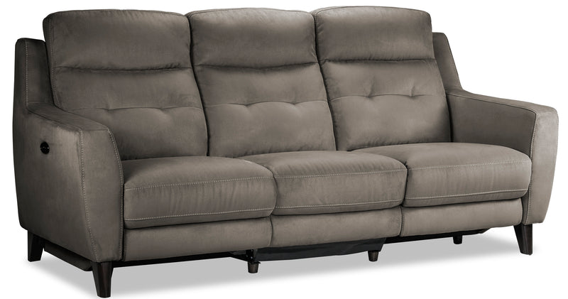 Lucas Power Reclining Sofa and Loveseat Set - Dark Grey