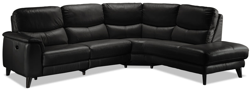 Delvanie 2-Piece Power Reclining Sectional with Right-Facing Chaise - Classic Black