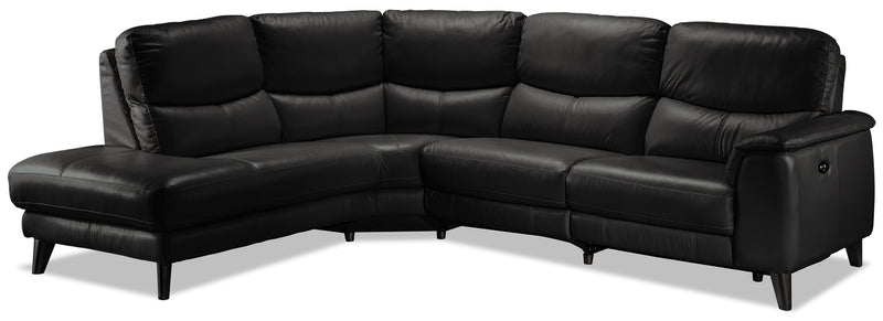 Delvanie 2-Piece Power Reclining Sectional with Left-Facing Chaise - Classic Black