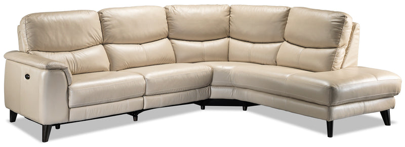 Delvanie 2-Piece Power Reclining Sectional with Right-Facing Chaise - Bisque