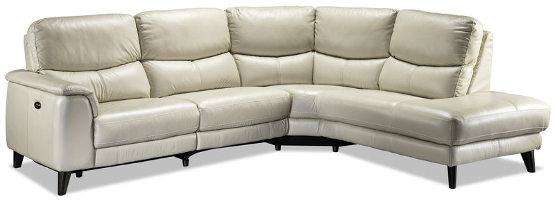 Delvanie 2-Piece Power Reclining Sectional with Right-Facing Chaise - Classic White