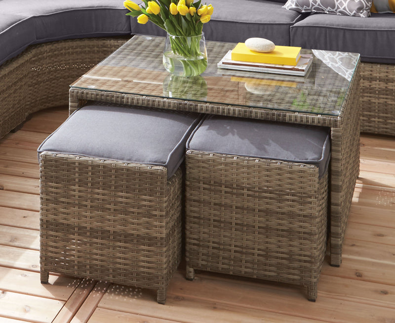 Melville Outdoor Coffee Table with 2 Ottoman - Grey
