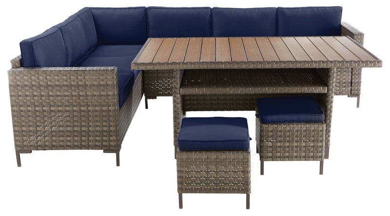 Domingo Outdoor Banquette Dining Set - Navy