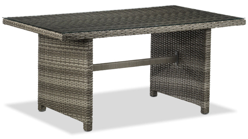 Melville Outdoor Banquette Table with Tempered Glass Top - Grey