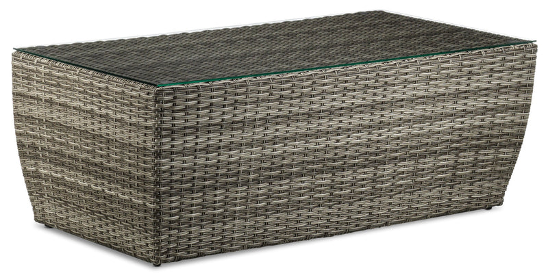 Melville Outdoor Coffee Table with Tempered Glass - Grey