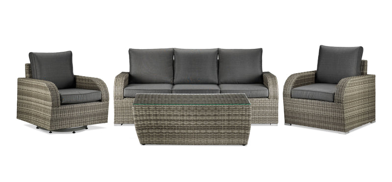 Melville 4-Piece Outdoor Sofa Set with Coffee Table - Grey