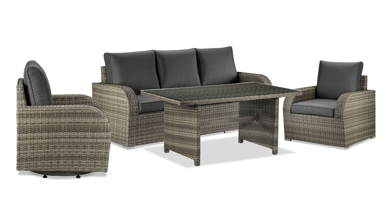 Melville 4-Piece Outdoor Sofa Set with Banquette Table - Grey