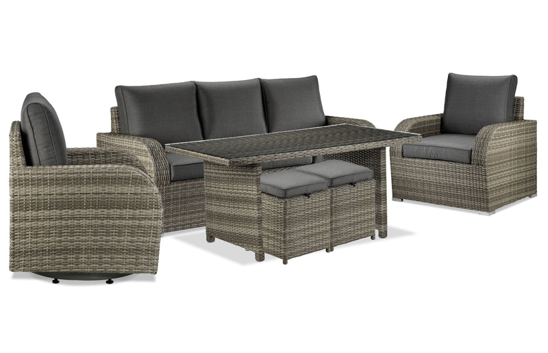 Melville 6-Piece Outdoor Sofa Set with Banquette Table and Two Ottomans - Grey
