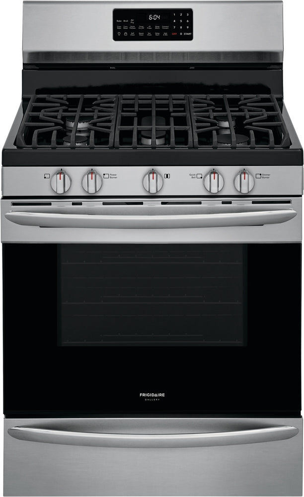 Frigidaire Gallery Smudge-Proof Stainless Steel Freestanding Front Control Gas Range with Air Fry - GCRG3060AF
