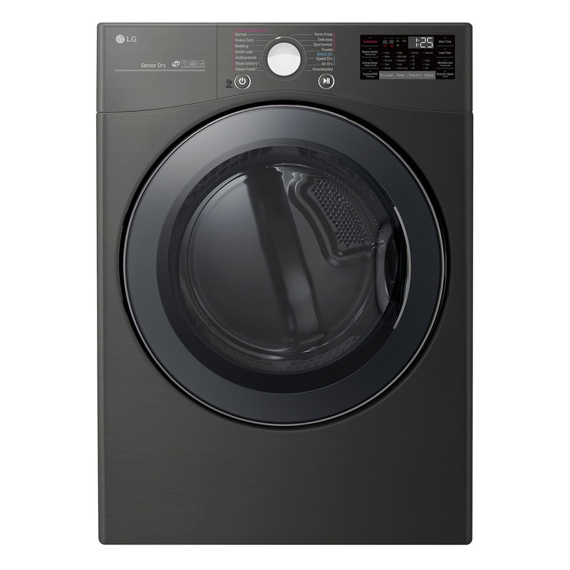 LG Black Steel Front-Load Electric TurboSteam™ Dryer (7.4 Cu. Ft.) - DLEX3900B