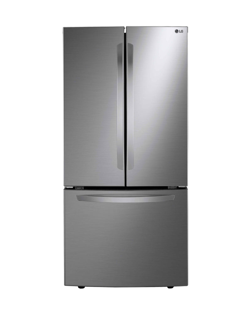 LG 33 in. 25 cu. ft. Platinum Silver French Door Refrigerator with Smart Cooling Plus System - LRFNS2503V