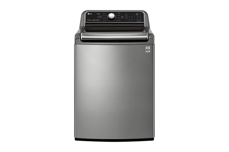 Image of LG Graphite Steel Mega Capacity Smart WiFi Enabled Top Load Washer with Agitator and TurboWash3D Technology (5.6 Cu.Ft) - WT7305CV