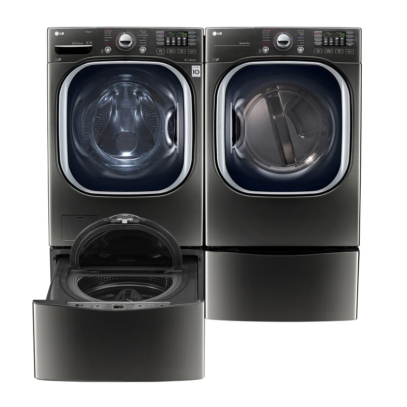 LG Appliances Black Stainless Steel Washer, Dryer, Pedestal Washer and Pedestal Package