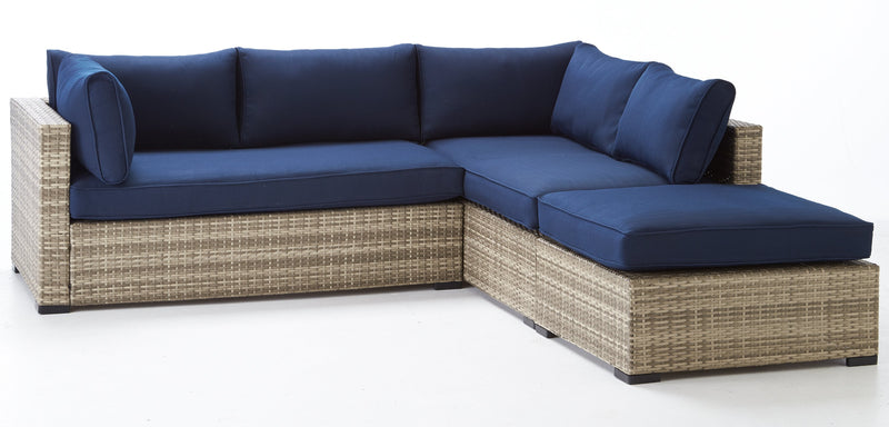 Caribe 2-Piece Outdoor Sectional and Ottoman - Navy