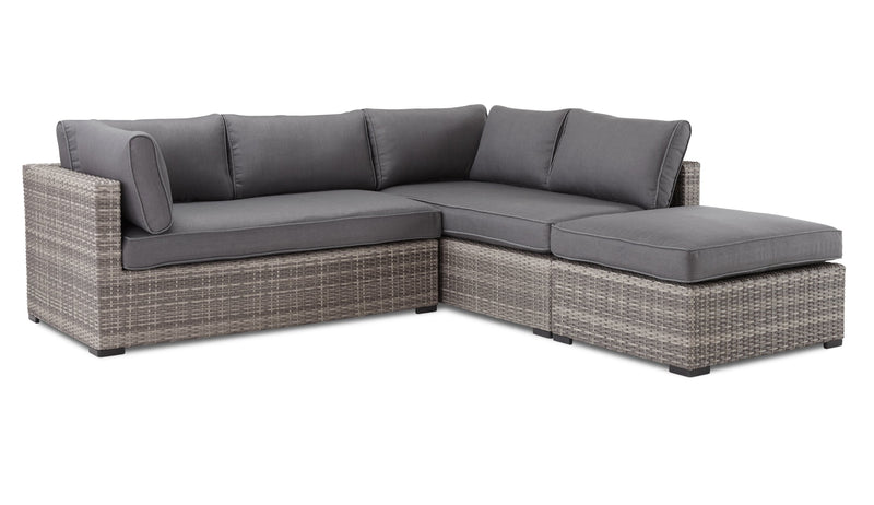 Caribe 2-Piece Outdoor Sectional and Ottoman - Grey