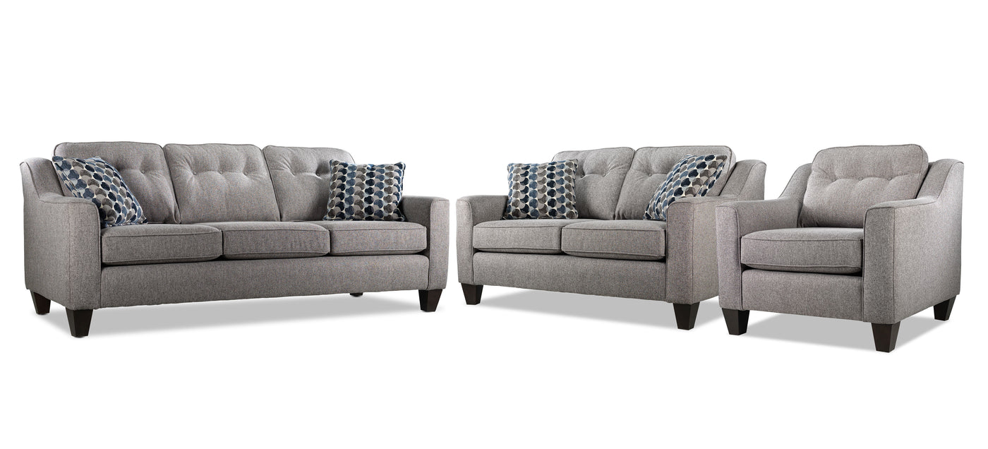Rockford Sofa Loveseat And Chair Set Grey