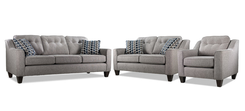 Rockford Sofa, Loveseat and Chair Set - Grey