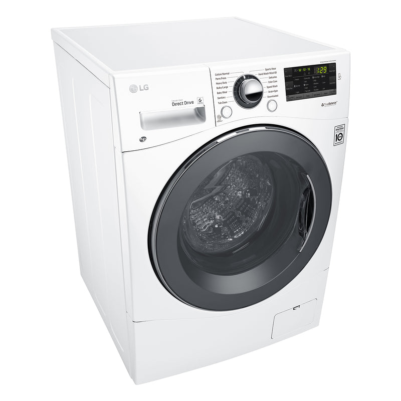 """Image of LG White 24"""" Compact Front Load Washer with NFC Tag On (2.6 Cu.Ft) - WM1388HW"""