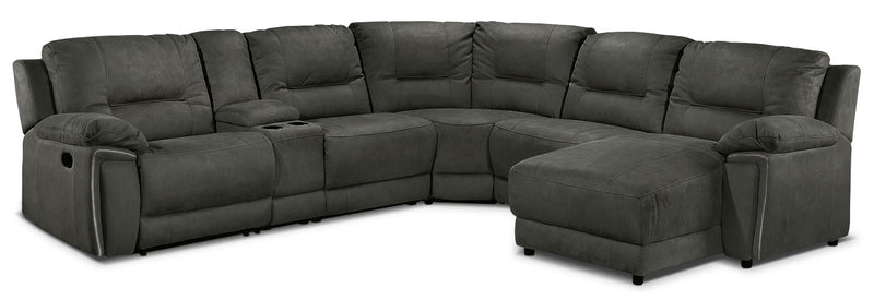 Pasadena 6-Piece Reclining Sectional with Right-Facing Chaise - Dark Grey