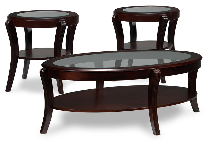 Theo Coffee Table and Two End Tables - Mahogany