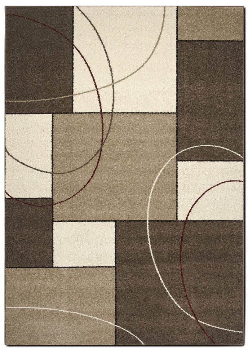 Casa Abstract 5' x 8' Area Rug - Cream and Taupe