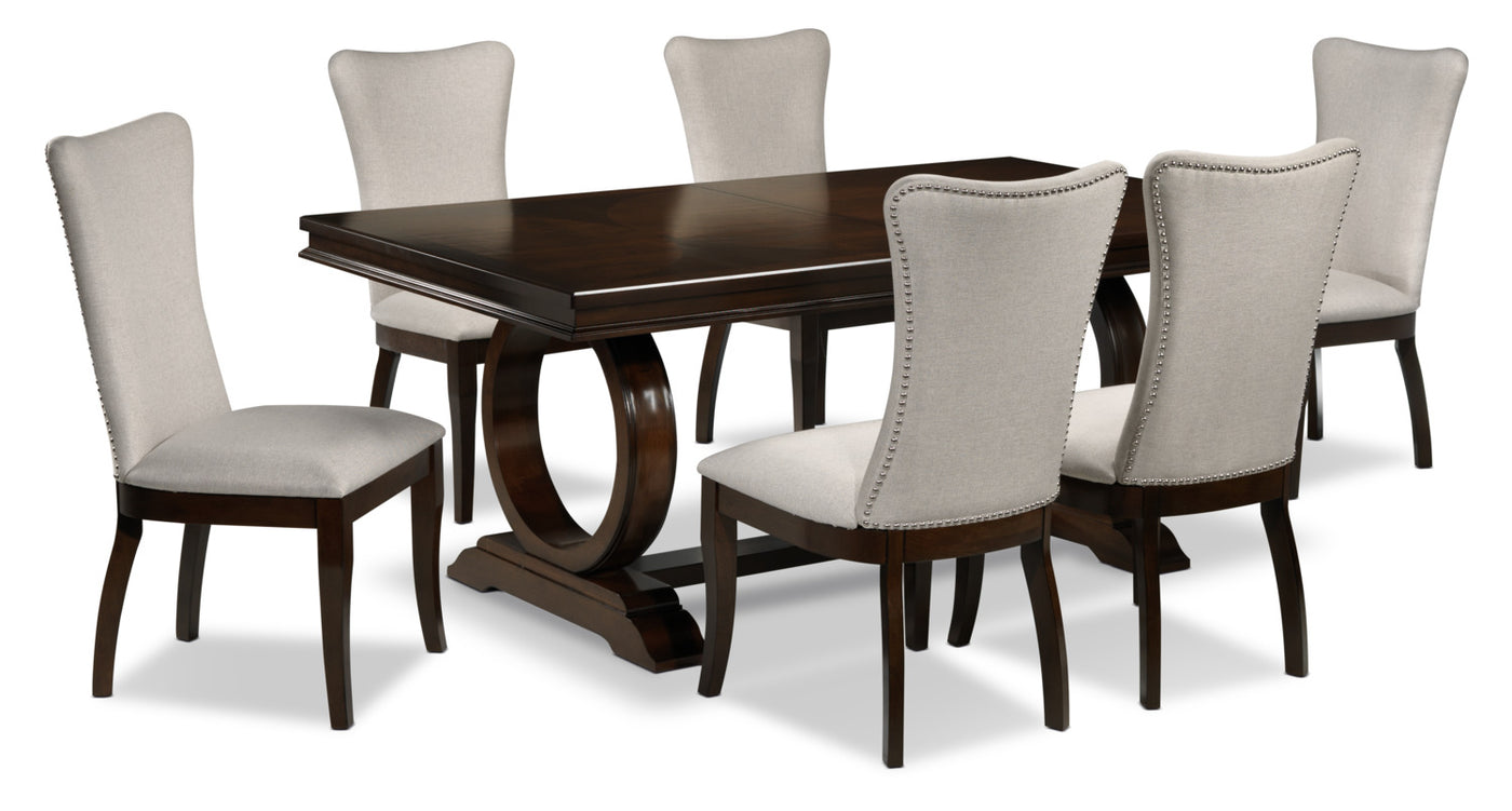 Rosario 7 Piece Dining Room Set Cherry And Beige
