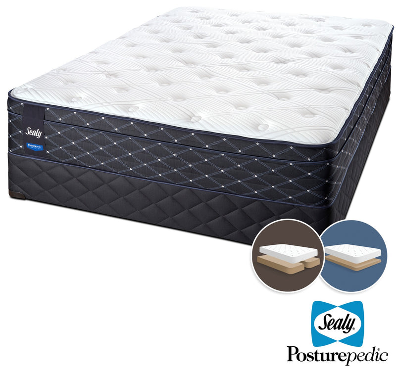 Sealy Familiar Plush King Mattress and Split Low-Profile Boxspring Set
