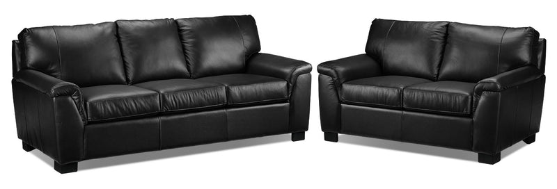 Reynolds Sofa and Loveseat Set - Black