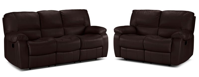 Piermont Reclining Sofa and Reclining Loveseat Set - Chocolate