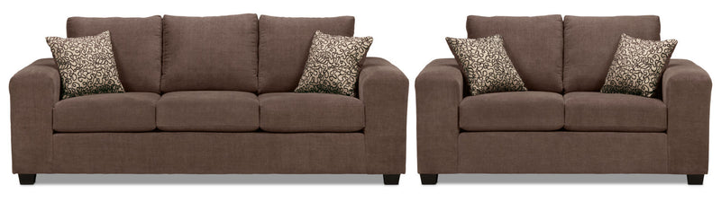 Fava Sofa and Loveseat Set - Light Brown