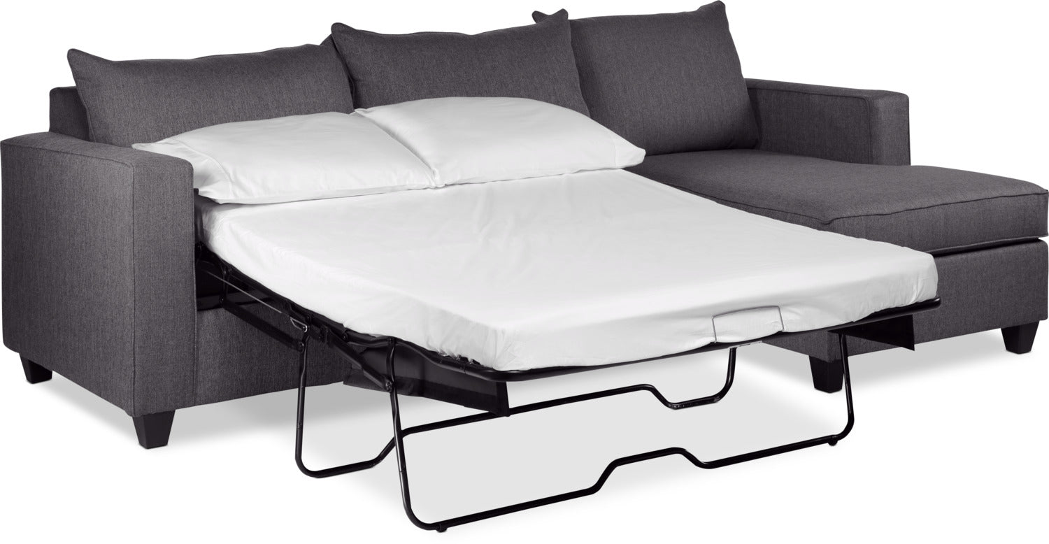 Halley 2 Piece Full Sofa Bed Sectional With Right Facing Chaise   Slate