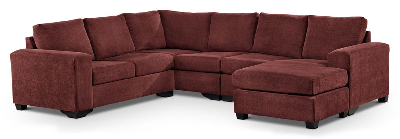 Danielle 3-Piece Sectional with Right-Facing Corner Wedge - Mulberry