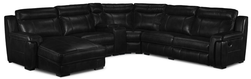 Bolero 6-Piece Reclining Sectional with Left-Facing Chaise - Black