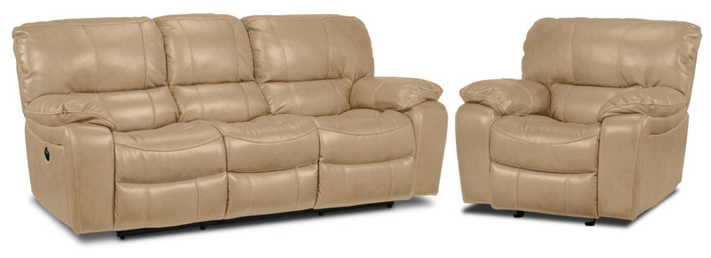 Santorini Power Reclining Sofa and Recliner Set - Taupe