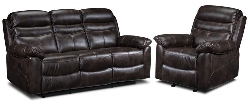 Devon Reclining Sofa and Recliner Set - Brown