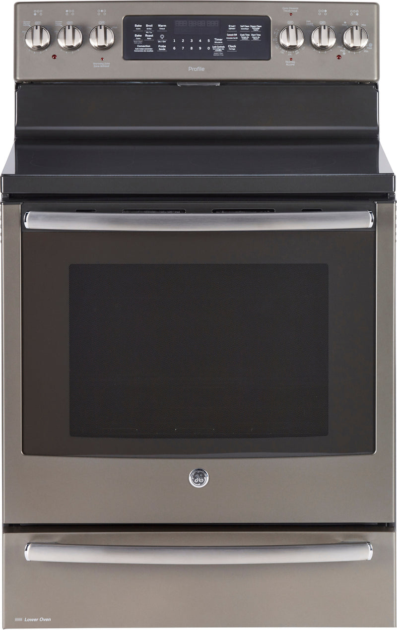 GE Profile Slate Freestanding Electric True Convection Range (7.2 Cu. Ft) - PCB985EKES