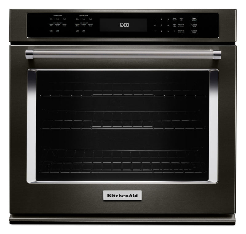 KitchenAid Black Stainless Steel Convection Wall Oven (4.3 Cu. Ft.) - KOSE507EBS