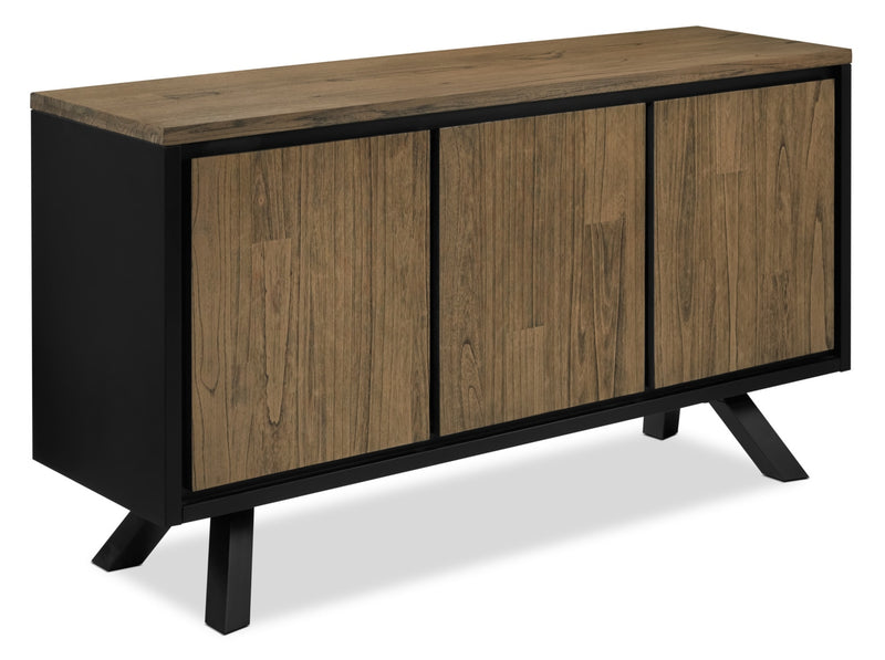 New York Server - Weathered Oak and Black