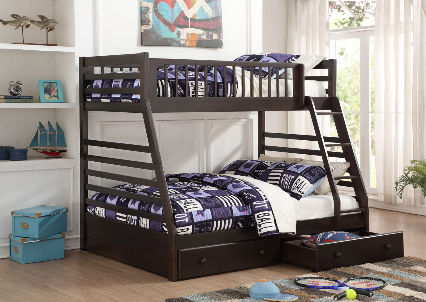 Starship Twin Over Full Bunk Bed Grey Espresso Leon S